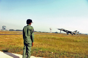 Chandan watches two Jaguars carrying out a  Pair Landing  from the edge of the runway